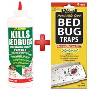 JT Eaton 203 Bedbug Powder Killer With 4 Harris Bed Bug Traps JTHBB04