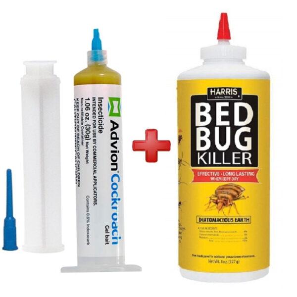 1 Pcs Advion Cockroach Gel With 1 Pcs Harris Bed Bug Killer Powder Bundle